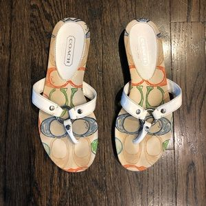 Coach 6.5 White Leather Sandals Grecian